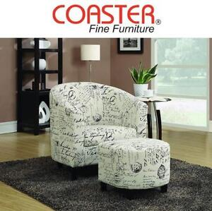 NEW ACCENT CHAIR AND OTTOMAN 900210 212966428 COASTER FINE FURNITURE FRENCH PRINT