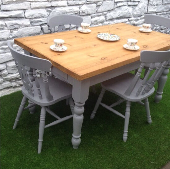 Farmhouse table chairs in french grey upcycled shabby for French farmhouse dining chairs