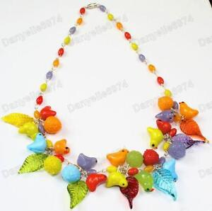 BIRDS&LEAVES fruit MULTI murano GLASS BEAD NECKLACE vintage RED,ORANGE bird&leaf