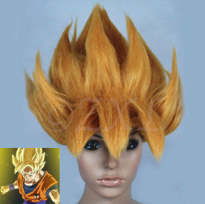 Dragonball Z Costume (Dragonball Z Cosplay Wig Goku Super Saiyan Gold Japanese Anime Halloween)
