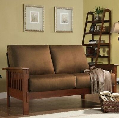 Loveseat Mission Style Rust Oak Microfiber Living Room Furniture Solid Wood NEW