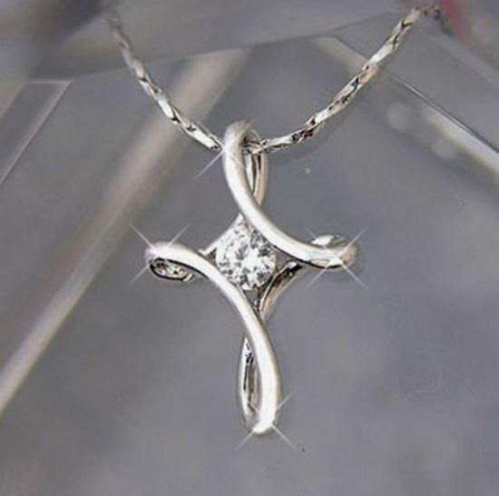 Damen Hals-kette Weiß Gold Vergoldet Kreuz Kristall Silber Geschenk Neu