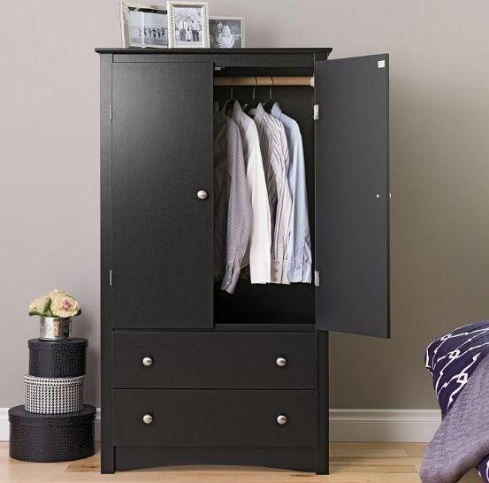 Wood Armoire Wardrobe Cabinet Closet Organizer Bedroom Furni