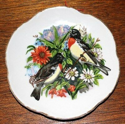 "YELLOW-BREASTED BIRD PLATE MADE IN JAPAN 7"" PRE OWNED"