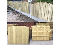 ✨Excellent Quality Bow Top Feather Edge Bow Fence Panels • Tanalised Heavy Duty
