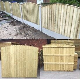 High Quality New Bow Top Feather Edge Fence Panels * Timber