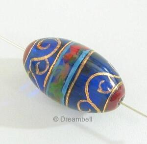 2-Handprint-glass-Gold-Dark-Blue-Oval-Focal-Bead-15mm