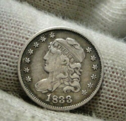 1833 Capped Bust Half Dime 5C Cents - Nice Coin, Free Shipping (9455)