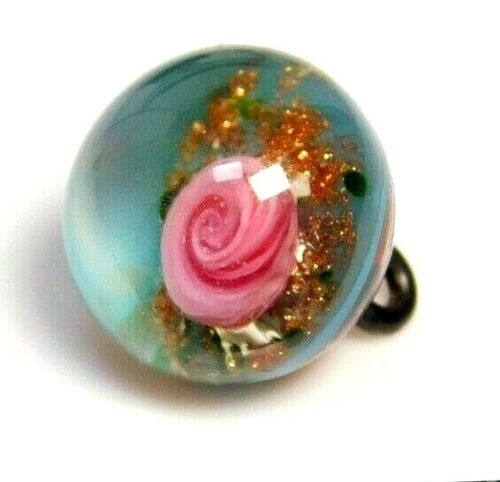Antique Vtg Button Glass PAPERWEIGHT~Pink ROSE w Blue & Goldstone NICE!