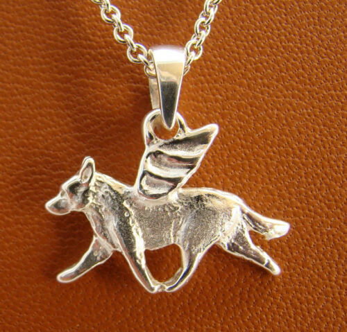 Small Sterling Silver Australian Cattle Dog Angel Pendant