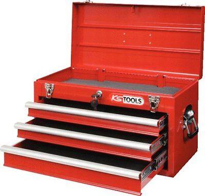 KS-TOOLS 891.0003 Werkzeugtruhe, Werkzeugkiste mit 3 Schubladen rot
