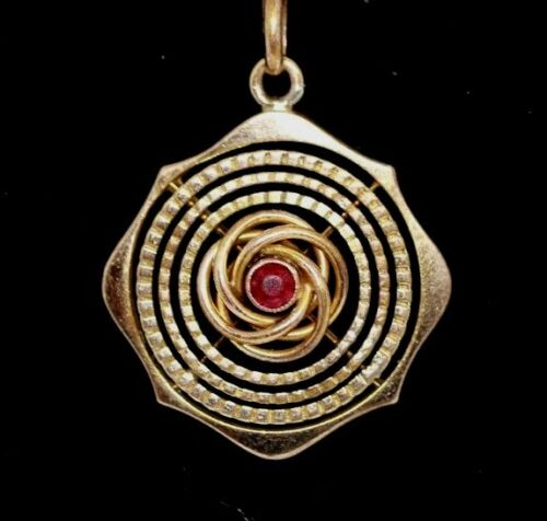 Rolled gold Edwardian round and red stone pendant vintage antique