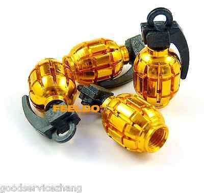 4 x Golden Grenade Bomb Wheel Tyre Tire Metal Valves Stems Air Dust Covers Caps