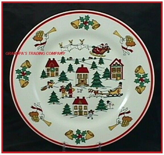 "Jamestown China The JOY of CHRISTMAS 10"" Dinner Plate NICE Angels Santa Reindeer"