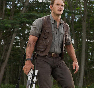 Jurassic World Chris Pratt Owen Grady Faux Leather Vest  Money Back Guarantee