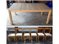 Ikea Extending Bjursta Birch Table & 6 Ikea Solid Oak Chairs FREE DELIVERY 359