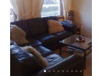 Leather corner sofa brown