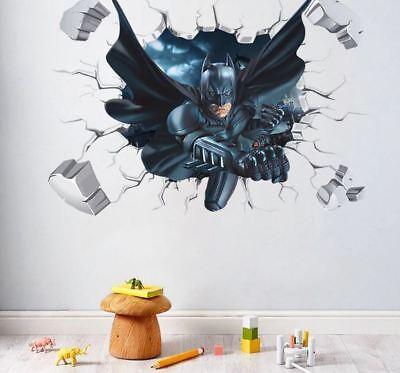 Batman Wall Stickers Cartoon Wallpaper 3D Decal Mural Art Decor For Kids (Batman New Wallpaper)
