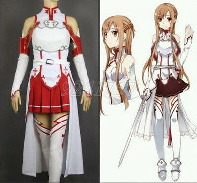 Damen Hot Cosplay Kostüme Set Halloween Anime Sword Art Online SAO Asuna Yuuki