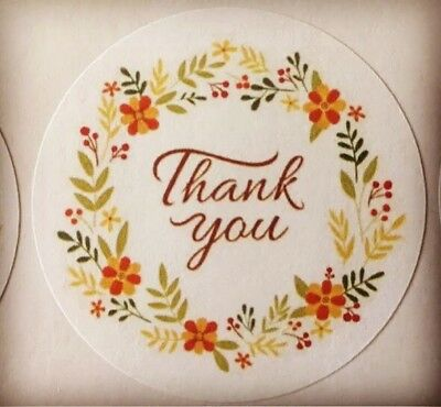 Thank You With Flower Ring  Envelope Seals Labels Stickers Celebrations