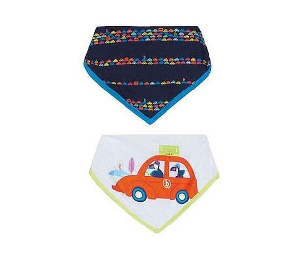 Ted Baker Baby Boys Dribble Bibs Cars Pack 2 Bib Designer Blue White Cotton