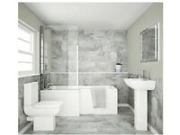 Rubix Modern L Shaped Left Hand Shower Bath Package - ref 11386