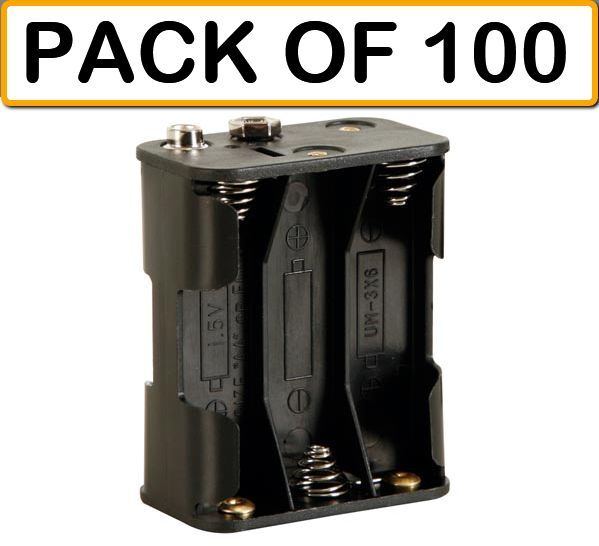 (PACK OF 100) Velleman BH363B BATTERY HOLDER FOR 6 AA CELL (WITH SNAP TERMINALS)