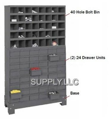 Metal 40 Hole Bin And 2 X 24 Drawers Storage Combo Bolt Bin Cabinet Nuts Screws