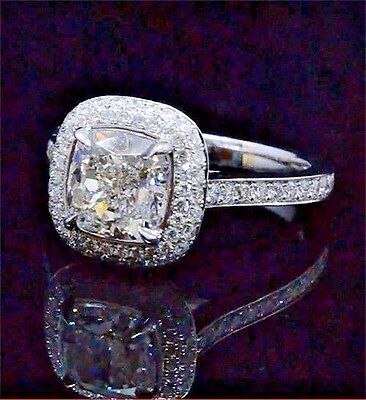 1.72 ct. Cushion Cut U-Setting Diamond Eternity Engagement Ring F,VVS1 GIA