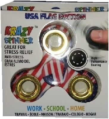 US Flag Fidget Spinner Anxiety Stress Relief Play Toy Device