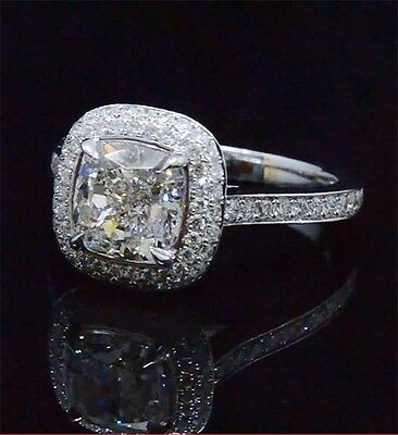 2.22 Ct Cushion Cut GIA Diamond Round Micro Pave Halo Engagement Ring G,VS2 18K