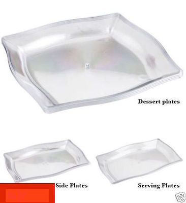 PLASTIC CLEAR PLATES - DESSERT-SIDE-SERVING PLATTERS - PARTY BBQ GARDEN ZOOM - Plastic Clear Plates