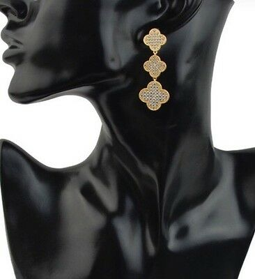 (Clover Leaf Flower Drop Earrings Designer Style 18k Gold Plated 3 Pave Crystal)