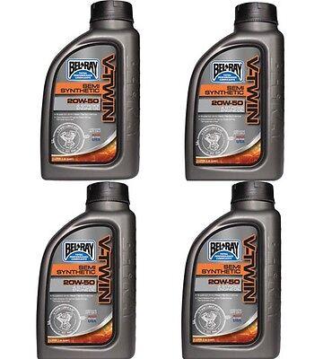 - 4 Bel-Ray V-Twin Semi-Synthetic Motor Oil 20W-50 1 Liter Bottles Harley Davidson