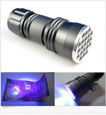 21 LED 395 nM UV Ultra Violet Blacklight Flashlight For CSI Inspection Light