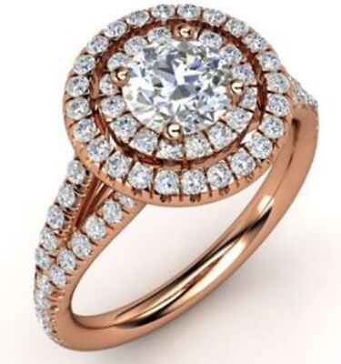 - 2.10CT Round Cut Diamond Engagement Anniversary Ring Solid 14k Rose Gold