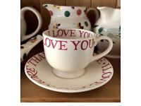 Emma Bridgewater Love And Kisses cup and saucer sets.