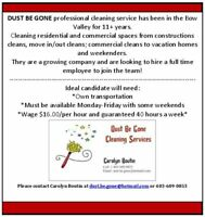 DUST BE GONE CLEANING SERVICE IS HIRING!