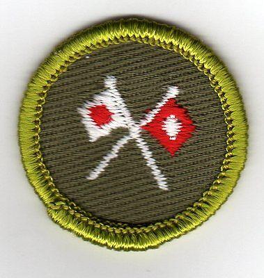 Signaling Merit Badge, Type F Rolled Edge Khaki Twill (1961-68), Mint!