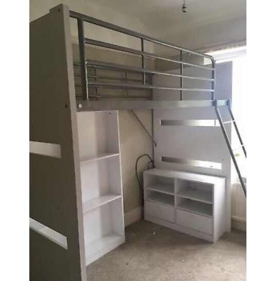 Argos High Sleeper Bed With Selves And Desk Reduced In