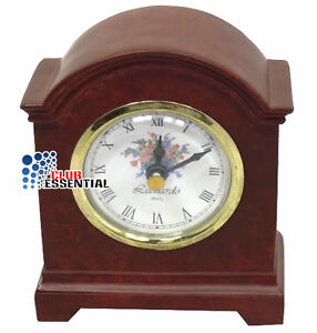 Battery Operated Vintage Ceramic Mantle Clock Break Arch Design Wood Effect