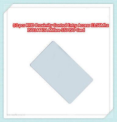 50pcs Rfid Proximity Control Entry Access 13.56mhz Mf S50 0.8mm Ic Card
