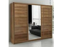 🪀Brand New Furniture🪀NEW BERLIN 2&3 SLIDING DOORS WARDROBE IN 5 SIZES & IN MULTI COLORS-CALL NOW🪀