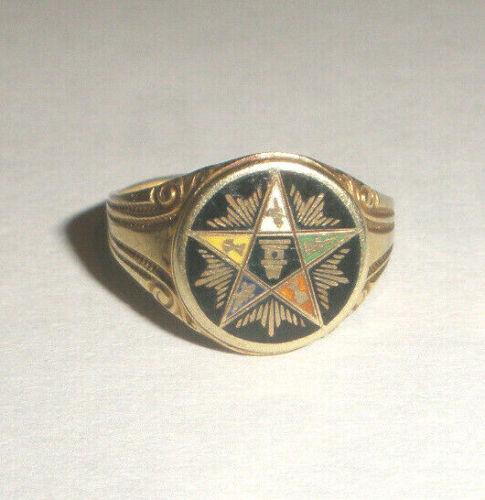 Antique Order Of Eastern Star Enamel 10K gold pinky ring size 3