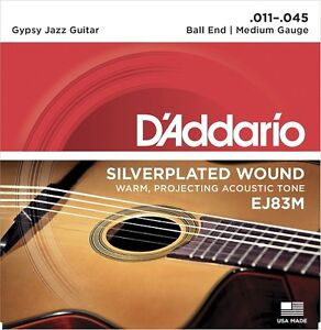 D'Addario EJ83M Gypsy Jazz, Ball End Guitar Strings Medium, 11-45