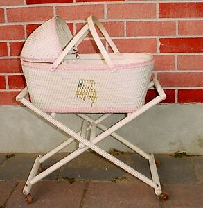 Antique 1930s Babys Wicker Bassinet Bisque Porcelin toy dolls London Ontario image 1