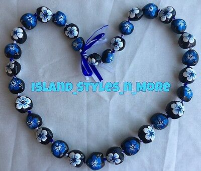Hawaii Wedding Kukui Nut Lei Graduation Luau Hula Necklace Hibiscus BLUE WHITE