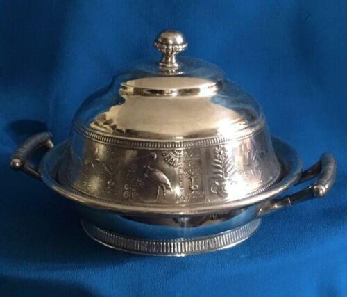Simpson Hall Miller Quadruple Silver Plate Lidded Butter Dish Aesthetic Movement