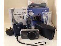 CANON POWERSHOT SX220 HS 12.1MP DIGITAL COMPACT CAMERA KIT GREY WITH BOX & CASE