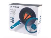 """Progress"" 3 Piece Teal Forged Aluminium Saucepan Set ***BNIB***"